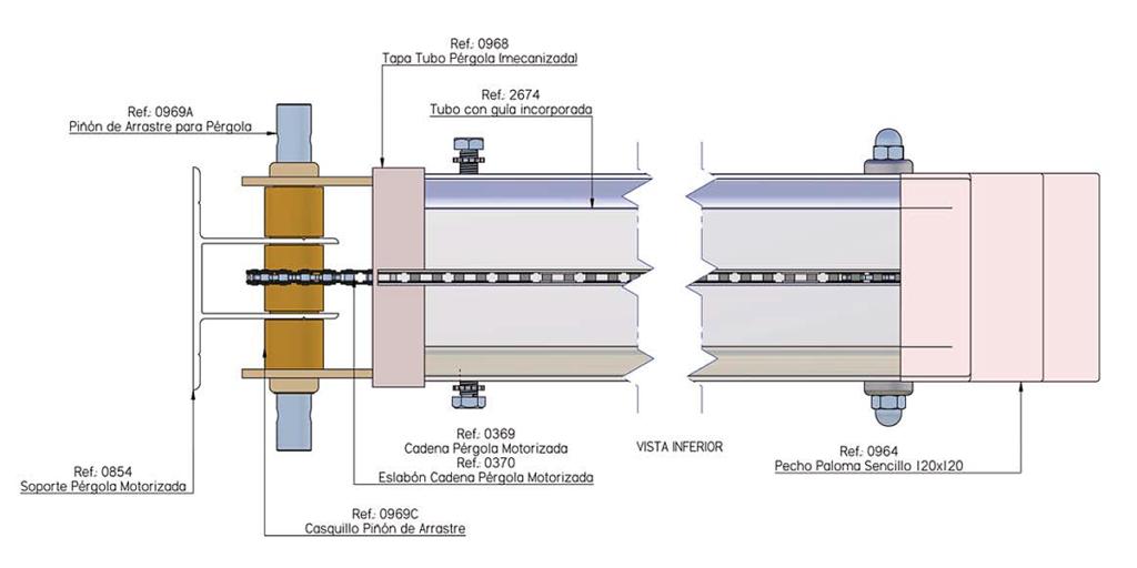 Diseño de automatismo por cadena para pérgola estructura de aluminio 12 x 12