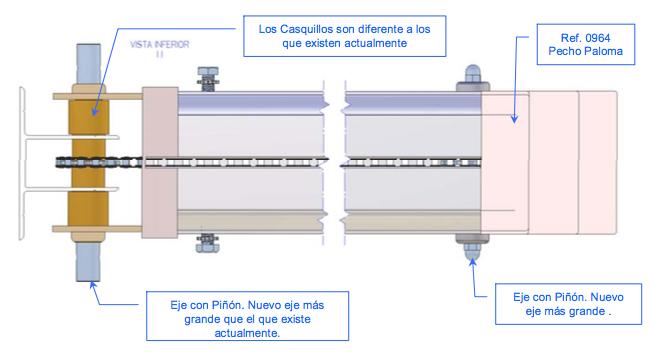 Mecanismo de automatización con cadena para pérgola de estructura 120 x 120