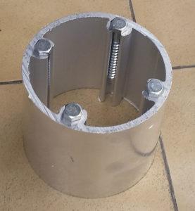 anclaje invisible de pérgola al suelo para perfil de aluminio 120X120